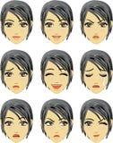 Gelaatsuitdrukking van vrouw (Aziatische Afdaling) vector illustratie