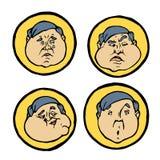 Gelaatsuitdrukkingen in mensen` s gezichten, geplaatste emotiespictogrammen Royalty-vrije Stock Foto
