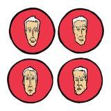 Gelaatsuitdrukkingen in mensen` s gezichten, geplaatste emotiespictogrammen Stock Afbeelding