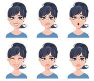 Gelaatsuitdrukkingen van een mooie vrouw Verschillende vrouwelijke geplaatste emoties vector illustratie