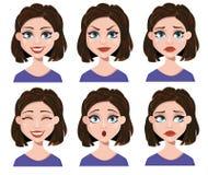 Gelaatsuitdrukkingen van een vrouw Verschillende vrouwelijke geplaatste emoties Stock Foto's