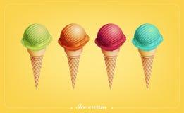Gelado colorido no cone, sabores diferentes, vetor Foto de Stock Royalty Free