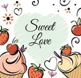 Gelado com morango, bandeira da cereja Desenho feito à mão vermelho para crianças, adulto do creame branco preto do rosa, caffee  ilustração royalty free
