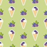 Gelado com uvas-do-monte Teste padrão sem emenda do humor do verão com gelado doce ilustração stock