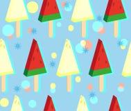 Gelado da melancia e do melão na vara Teste padrão sem emenda colorido no fundo azul frio com flocos de neve ilustração stock