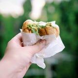 Gelado de coco da posse da mão com pão Alimento tailandês da rua Blurre Imagens de Stock