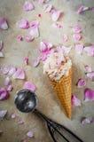 Gelado de Rosa em cones do waffle Imagem de Stock Royalty Free