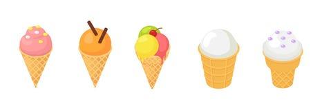 Gelado do vetor do gelado no cone com baunilha do chocolate e a sobremesa congelada da desnatadeira nos doces da crosta de gelo d ilustração stock