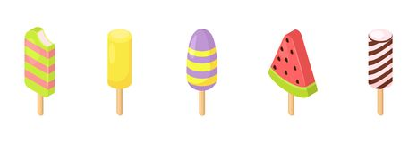 Gelado do vetor do gelado no cone com baunilha do chocolate e a sobremesa congelada da desnatadeira nos doces da crosta de gelo d ilustração royalty free