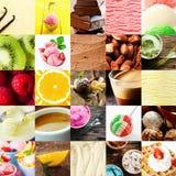 Gelado e colagem italianos da sobremesa Fotografia de Stock