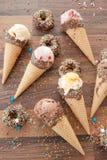 Gelado em cones do waffle Imagem de Stock Royalty Free