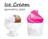 Gelado em um ramekin branco Estilo geométrico Vetor Imagem de Stock