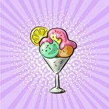 Gelado na ilustração tirada mão do vetor do pop art dos sabores do vidro três ilustração stock
