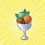 Gelado na ilustração tirada mão do vetor do pop art dos sabores do vidro três ilustração do vetor
