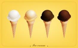 Gelado no cone, sabores diferentes, vetor Fotos de Stock Royalty Free
