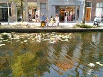 Gelado pela água, louça de Delft, Países Baixos fotos de stock royalty free