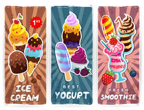 Gelado retro do estilo, batido e bandeiras do iogurte Imagem de Stock