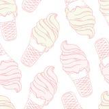 Gelado torcido em um cone do waffle stylized ilustração do vetor
