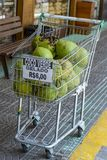 Gelado verde a vender, dinheiro de coco de R$ 6,00 de Brasil fotos de stock