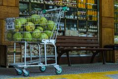 Gelado verde a vender, dinheiro de coco de R$ 6,00 de Brasil fotos de stock royalty free