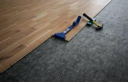 Gelamineerde houten vloer royalty-vrije stock foto's