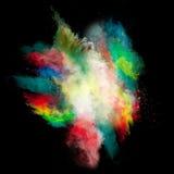 Gelanceerd kleurrijk poeder stock fotografie
