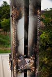 Gelaste staalpanelen, zonnecellen royalty-vrije stock foto