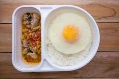 Gelata di basilico Fried Chicken e del cibo pronto dell'uovo fritto Immagini Stock Libere da Diritti