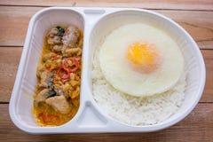 Gelata di basilico Fried Chicken e del cibo pronto dell'uovo fritto Fotografia Stock