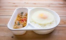 Gelata di basilico Fried Chicken e del cibo pronto dell'uovo fritto Fotografie Stock Libere da Diritti
