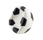 Gelaten leeglopen die voetbalbal op witte achtergrond wordt geïsoleerd Royalty-vrije Stock Afbeeldingen