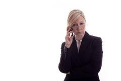 Gelaten secretaresse met telefoon Royalty-vrije Stock Foto's