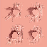 Gelaten vallen roze kleurendoek op hartteken Stock Foto