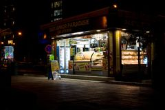 Gelateria in Sliema at night, Malta
