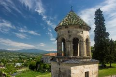 Gelati Monastery Georgia. Near Kutaisi ia a famous monastery complex of Georgian `golden age` with main Chedral of Virgin and king David grave stock images
