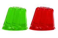 Gelatin. Red and green gelatin on a white background Stock Image