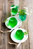 Gelatin dessert with woodruff Royalty Free Stock Images