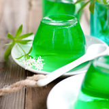 Gelatin dessert with woodruff Royalty Free Stock Photos