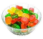 Gelatin desserts in bowl. Gelatin desserts in a bowl isolated over white stock photo