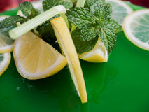 Gelatin mojito cake with lime and peppermint.  Stock Photos