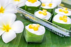 Gelatina della noce di cocco in una tazza pandan delle foglie Fotografia Stock Libera da Diritti