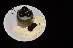 Gelatina delle ciliege con il gelato Fotografia Stock