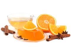 Gelatina e tè arancioni immagini stock libere da diritti