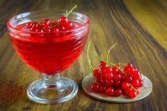 Gelatina rossa con frutta Fotografia Stock Libera da Diritti