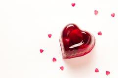 Gelatina rossa della ciliegia di cuore Immagini Stock Libere da Diritti