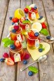 Gelatina rossa e gialla servita con frutta Fotografie Stock Libere da Diritti