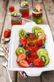 Gelatina rossa e verde servita con frutta Fotografia Stock Libera da Diritti