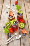 Gelatina rossa e verde servita con frutta Immagine Stock Libera da Diritti