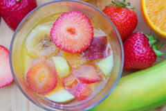 Gelatine dessert with fresh fruits, from above Stock Images