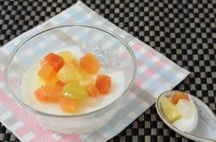 Gelatinizzi la macedonia del pudding Fotografia Stock
